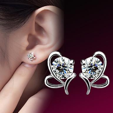 Mulheres Coração Prata de Lei Zircão Prateado Brincos Curtos - Coração Pedras dos signos Coração Para Casamento Festa Diário Casual