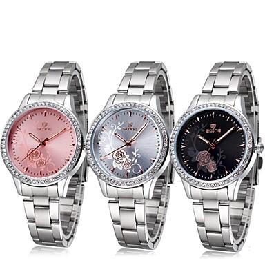 Mulheres Relógio de Moda Quartzo Impermeável Gravação Oca Relógio Esportivo Lega Banda Flor Prata Preto Vermelho