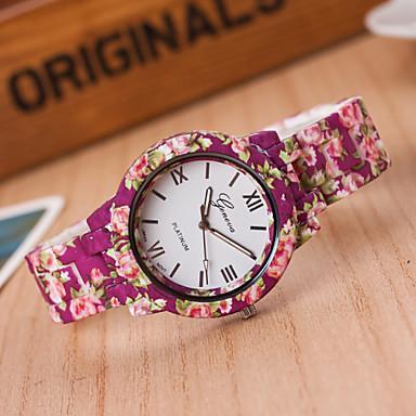 Dames Modieus horloge Kwarts Plastic Band Bloem roze
