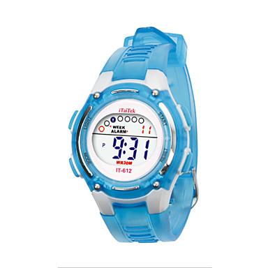 Kinderen Sporthorloge LCD Digitaal Plastic Band Zwart Blauw Groen Roze Geel