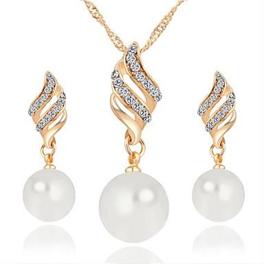 Mulheres Diamante sintético Conjunto de jóias - Pérola Incluir Colar / Brincos Prata / Dourado Para Casamento / Festa / Diário