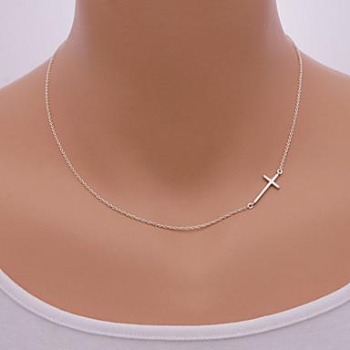 Feminino Colares com Pendentes Formato Circular Formato de Cruz Liga lateralmente Estilo simples Europeu Prata Dourado Jóias ParaDiário