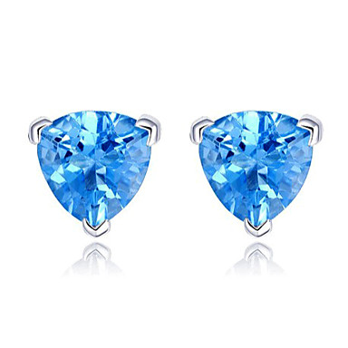 Brincos Compridos Jóias de Luxo Europeu Prata Chapeada imitação de diamante Azul Jóias Para Casamento Festa Diário Casual 2pçs