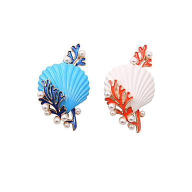Feminino Broches Moda Estilo bonito bijuterias Pérola Esmalte Concha Liga Jóias Para Casamento Festa Ocasião Especial Aniversário Diário