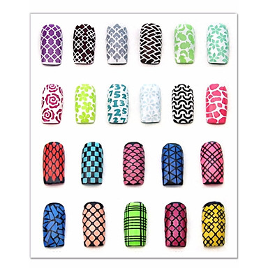 1pcs nail sticker template-7.5*13cm-PVC-Virág-Ujj / Toe-3D-s akril körömsablonok