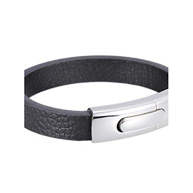 Heren Lederen armbanden Roestvast staal Leder Zwart Sieraden Voor Feest Dagelijks Causaal Sport Kerstcadeaus 1 stuks