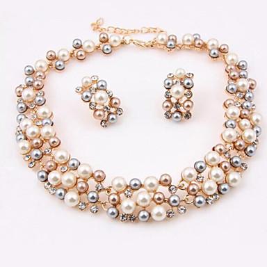 여성 목걸이 / 귀걸이 사치 컬러풀 펄 모조 다이아몬드 귀걸이 목걸이 제품 결혼식 파티 결혼 선물