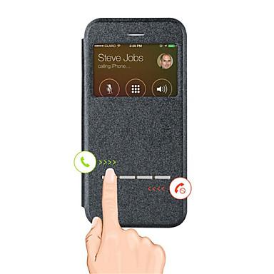 제품 iPhone X iPhone 8 iPhone 6 iPhone 6 Plus 케이스 커버 스탠드 윈도우 풀 바디 케이스 한 색상 하드 인조 가죽 용 iPhone X iPhone 8 Plus iPhone 8 iPhone 6s Plus iPhone