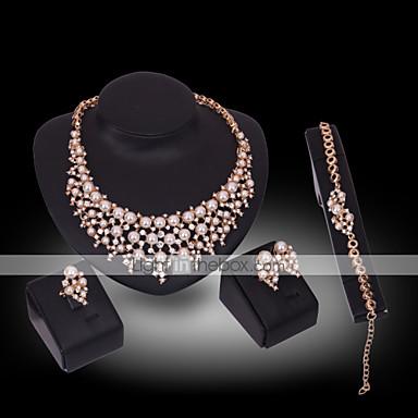 Női Gyöngy / Szintetikus gyémánt Ékszer szett - 18 karátos futtatott arany, Gyöngy, Arannyal bevont Luxus tartalmaz Fehér Kompatibilitás Esküvő / Parti / Hamis gyémánt