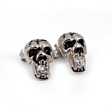 Heren Dames Oorknopjes Luxe Sieraden Roestvast staal Kubieke Zirkonia Gesimuleerde diamant Doodshoofdvorm Sieraden Voor Dagelijks Causaal