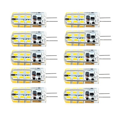 billige LED-lyspærer-brelong 10 stk g4 dimmable 2.5w 24led smd2835 majs lys hvid / varm hvid / ac12v / dc12v / ac220v