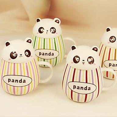 2pcs copo bonito panda cerâmica esmalte barra de cores copos caneca de água 400ml gota barrigudo (cor aleatória)