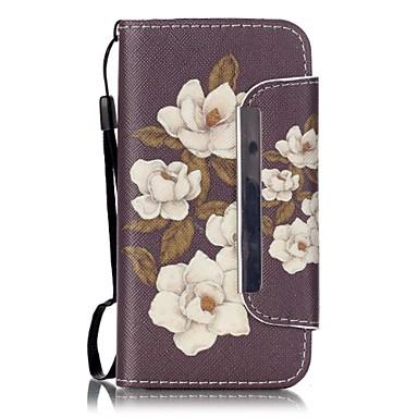 Mert iPhone 5 tok Pénztárca / Kártyatartó / Állvánnyal / Flip / Minta Case Teljes védelem Case Virág Kemény Műbőr Apple iPhone SE/5s/5