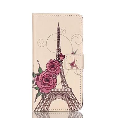 hoesje Voor Samsung Galaxy Samsung Galaxy S7 Edge Kaarthouder Portemonnee met standaard Flip Volledig hoesje Eiffeltoren PU-nahka voor S7