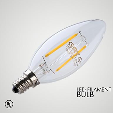 1db 2 W ≥200 lm E12 LED gyertyaizzók 2 LED gyöngyök COB Tompítható / Dekoratív Meleg fehér 110-130 V / 1 db.