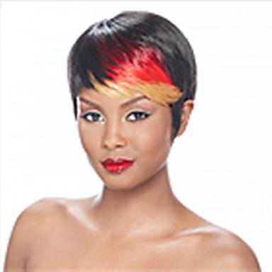 Mulher Perucas sintéticas Sem Touca Curto Liso Arco-Íris Cor Misturada preto peruca Peruca de Halloween Peruca de carnaval Perucas para