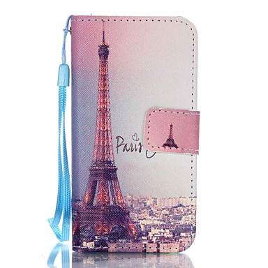 Case Kompatibilitás iPhone 5 tok Pénztárca Kártyatartó Állvánnyal Flip Minta Teljes védelem Eiffel torony Kemény Műbőr Bőr mert iPhone