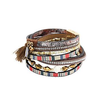 Dames Wikkelarmbanden Lederen armbanden Luxe Sieraden Parel Leder Strass Veer imitatie Diamond Legering Drop Blauw Khaki Sieraden Voor