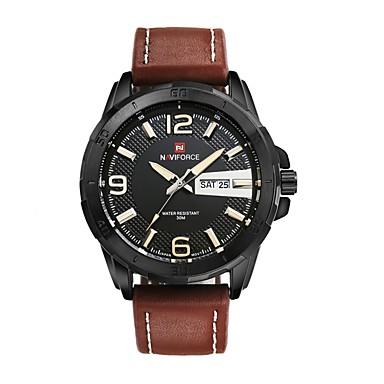 Bărbați Ceas Sport Ceas Militar Ceas Elegant Ceas La Modă Quartz Calendar Mare Dial Piele Autentică Bandă Vintage Casual Multicolor