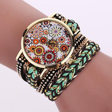 Жен. Кварцевый Часы-браслет Повседневные часы Кожа Группа Цветы Мода Черный Белый Синий