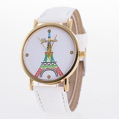 아가씨들 패션 시계 석영 가죽 밴드 에펠탑 블랙 화이트 블루 레드 브라운 핑크 퍼플 로즈