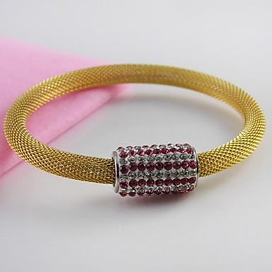Női Karperecek Luxus Rozsdamentes acél Arannyal bevont Hamis gyémánt Ékszerek Esküvő Parti Napi Hétköznapi