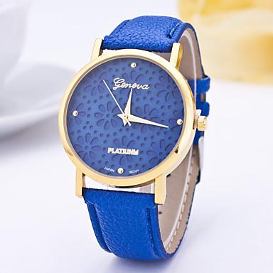 Pentru femei Ceas La Modă Ceas Casual Quartz Gravură scobită / PU Bandă Floare Casual Albastru Violet Bleumarin