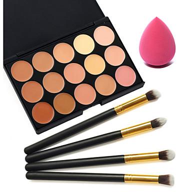 15 cores corretivo + 4pcs alça preta maquiagem jogo de escova cosmético + sopro maquiagem beleza fundação ovo (sortidos)