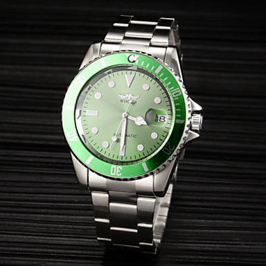 זול שעוני גברים-WINNER בגדי ריקוד גברים שעוני אופנה שעוני שמלה שעון יד אוטומטי נמתח לבד גדול מתכת אל חלד כסף עמיד במים לוח שנה זורח אנלוגי פאר קלסי שעון גונמטאל - שחור ירוק כחול