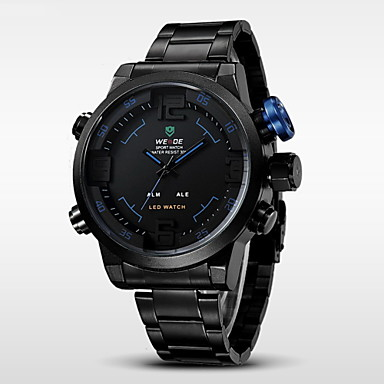 levne Pánské-WEIDE Pánské Náramkové hodinky Křemenný Japonské Quartz Nerez Černá 30 m Voděodolné Alarm Kalendář Analog - Digitál Přívěšky - Žlutá Červená Modrá / Chronograf / LED / Hodinky s dvojitým časem