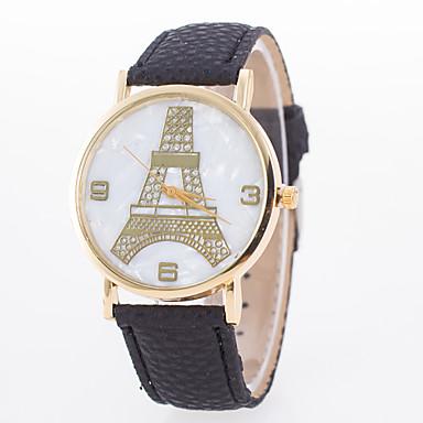 여성용 석영 패션 시계 뜨거운 판매 가죽 밴드 에펠탑 블랙 화이트 블루 레드 오렌지 브라운 핑크 베이지 로즈