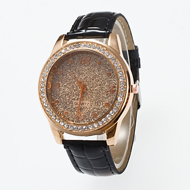 abordables Montres Femme-Femme Montre Montre Diamant Simulation Montre Pavé Quartz Cuir PU à Carreaux Noir / Rouge / Marron Imitation de diamant / Analogique dames Simple Mode - Café Rouge Rose Rouge