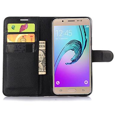 voordelige Galaxy J-serie hoesjes / covers-hoesje Voor Samsung Galaxy J7 / J5 / J2 Portemonnee / Kaarthouder / met standaard Volledig hoesje Effen PU-nahka