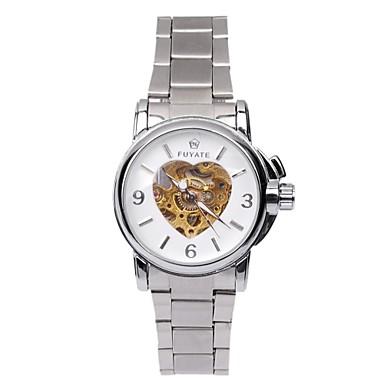 Férfi Szkeleton óra mechanikus Watch Automatikus önfelhúzós Üreges gravírozás ötvözet Zenekar Ezüst