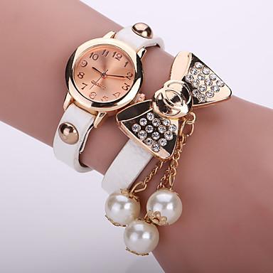 아가씨들 패션 시계 팔찌 시계 석영 가죽 밴드 꽃패턴 블랙 화이트 블루 오렌지 브라운 핑크