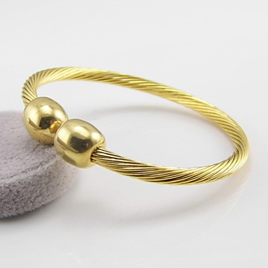 Női Bilincs karkötők Állítható Nyitva Rozsdamentes acél Arannyal bevont Ékszerek Esküvő Parti Napi Hétköznapi