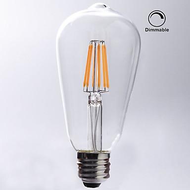 KWB 1pc 7W 720 lm E26/E27 LED Filament Bulbs ST64 8 leds COB Dimmable Waterproof Decorative Warm White AC 110-130V