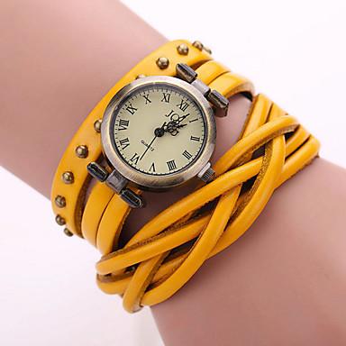 남성용 패션 시계 팔찌 시계 손목 시계 석영 캐쥬얼 시계 가죽 밴드 블랙 화이트 블루 오렌지 브라운 그린 노란색