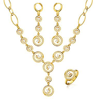 Női Ékszer készlet Francia kapcsos fülbevalók Kristály Arannyal bevont Circle Shape Vintage Bájos Party Munkahelyi Alkalmi Divat Esküvő
