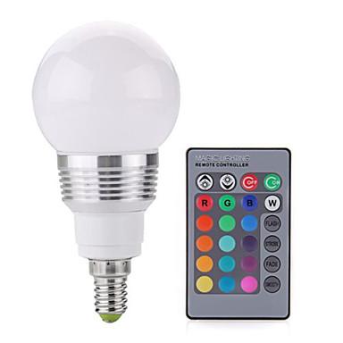2W 250 lm E14 LED 글로브 전구 A60(A19) 1 LED가 COB 밝기조절가능 장식 리모컨 작동 RGB AC 85-265V