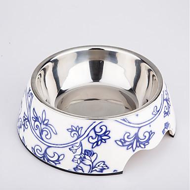 L 고양이 강아지 그릇&물병 애완동물 그릇 & 수유 방수 블루