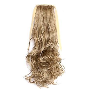 갈색 길이 50cm 합성 곱슬 머리 가발 말꼬리 멜란지 벨트 타입 (색상 86분의 10)