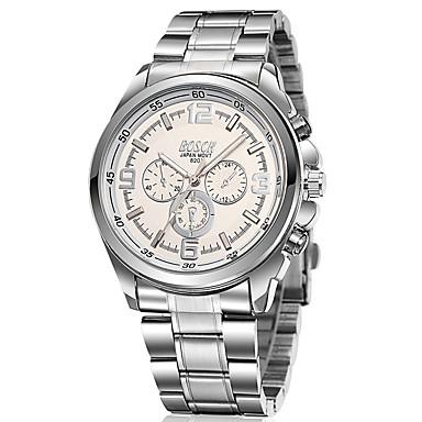 BOSCK Homens Relógio Elegante Quartzo Impermeável Aço Inoxidável Banda Prata