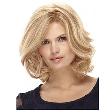 여성 인조 합성 가발 캡 없음 스트레이트 곱슬머리 스트레이트 금발 의상 가발