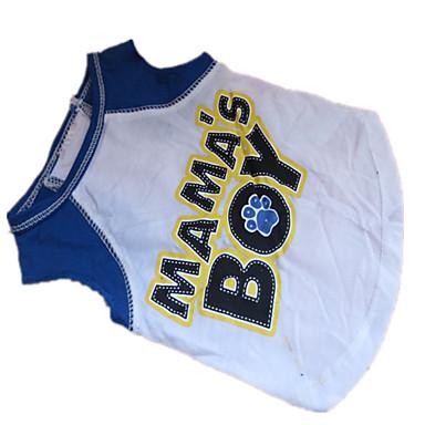 Chien Tee-shirt Vêtements pour Chien Lettre et chiffre blanc / bleu Coton Costume Pour les animaux domestiques
