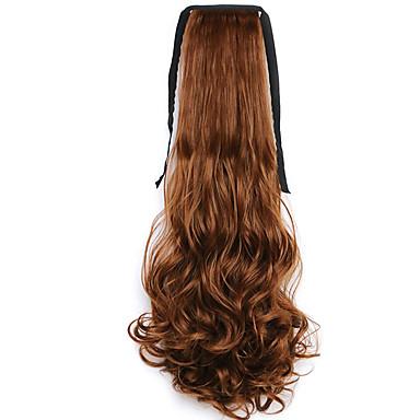 barna víz hullám hosszú göndör haj paróka stílus copf kötést Ponytails