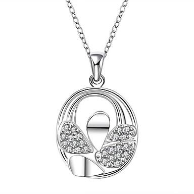 Női Rövid nyakláncok Nyaklánc medálok Nyilatkozat nyakláncok Ezüst Cirkonium Kocka cirkónia Lógó Divat Fehér ÉkszerekEsküvő Parti Napi