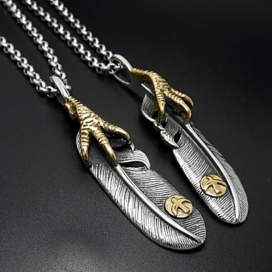 Férfi Női Nyaklánc medálok Függők Titanium Acél Toll Divat Ezüst Ékszerek Napi 1 pár