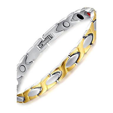 voordelige Heren Armband-Heren Armbanden met ketting en sluiting Tweekleurig Dames Titanium Staal Armband sieraden Zilver Voor Dagelijks Causaal