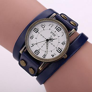 남성용 패션 시계 팔찌 시계 손목 시계 석영 캐쥬얼 시계 가죽 밴드 블랙 화이트 레드 오렌지 브라운 그린